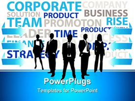 PowerPoint template displaying business men and women dressed formally pose on blue and white background