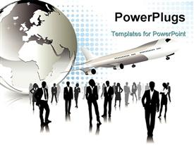 PowerPoint template displaying lots of business people standing beside an earth globe and an airplane