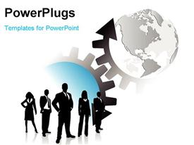PowerPoint template displaying a silhouette of business men and women standing beside some gears and a globe