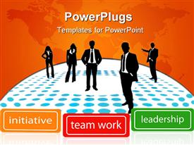 PowerPoint template displaying people standing on polka dots of blue and white with leadership  terms