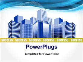 PowerPoint template displaying depiction of a modern business city over white background