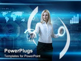 PowerPoint template displaying outstanding business people in interiors / interfaces series in the background.