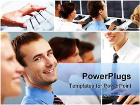 PowerPoint template displaying smiling people and keyboards in different tiles and a hand