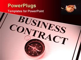 PowerPoint template displaying business contract and compass on white paper with black margins and two business men shaking hands in the top right corner