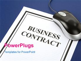PowerPoint template displaying a business contract with a mouse and bluish background