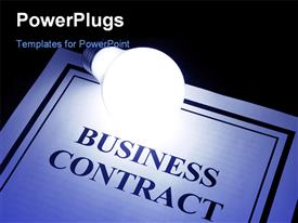 PowerPoint template displaying light bulb shinning over business contract on black background