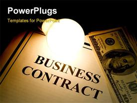 PowerPoint template displaying a business contract with a number of dollars at a side