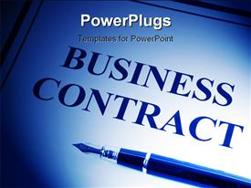 PowerPoint template displaying a pen with a business contract in the background