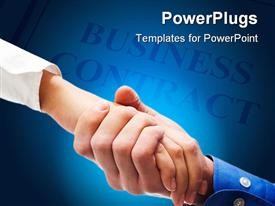 PowerPoint template displaying a handshake with business contract in the background