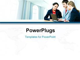 PowerPoint template displaying business people interacting together on the background of office building