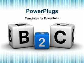 PowerPoint template displaying colored B2C cubes depicting business to customer relationship