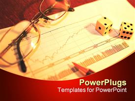 PowerPoint template displaying making a difficult business investment decision with a chart and dice in the background.