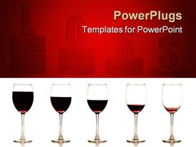 Series of stemmed wine glass with wine at gradually reduced levels on a white background powerpoint design layout