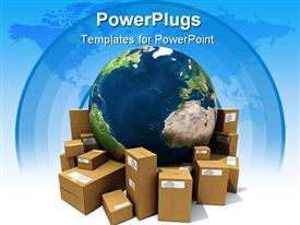 PowerPoint template displaying earth with a heap of cardboard boxes