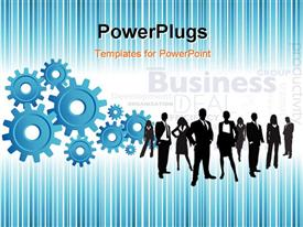 PowerPoint template displaying blue business background with a group of gears in the background.