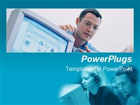 PowerPoint template displaying two tiles of three adults wearing headphones and pointing at a computer