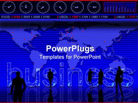 PowerPoint template displaying conceptual business design: business, trading, market, global, stock in the background.