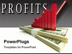 PowerPoint template displaying red bar chart on two bundles of dollar notes