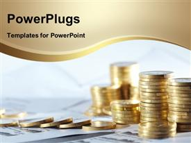 PowerPoint template displaying stack of gold coins over financial papers