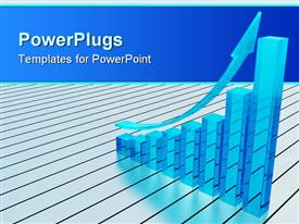 PowerPoint template displaying 3D diagram with transparent glowing blue bars and rising arrow