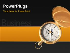 PowerPoint template displaying business depiction with open compass for direction over black background