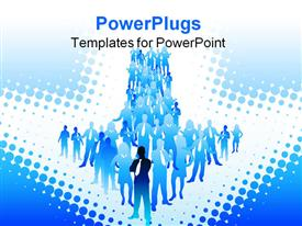 PowerPoint template displaying people standing together forms arrow shape on white with dots of blue