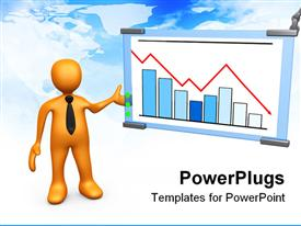 PowerPoint template displaying yellow figure in black neck tie gesturing to display with bar chart and red line