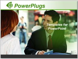 PowerPoint template displaying smiling young business man talking to woman over coffee
