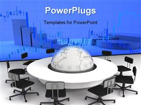PowerPoint template displaying business concept, Financial conference in the background.