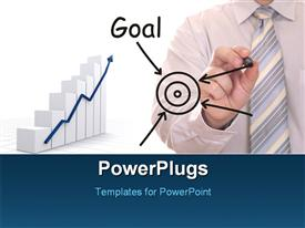 PowerPoint template displaying businessman drawing Goal word in the background.