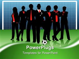 PowerPoint template displaying business team standing in front of goal with football on soccer pitch