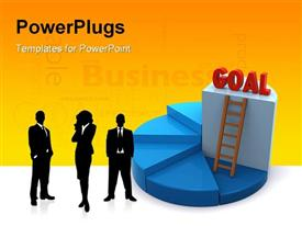 PowerPoint template displaying business team with ladder leading to GOAL on platform