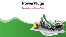 PowerPoint template displaying business depiction with financial chart and money stack on document