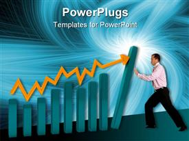 Business man with a graphic showing growth powerpoint design layout