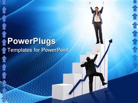 PowerPoint template displaying a person trying to ladder up on the growth graph with bluish background