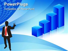 PowerPoint template displaying economic graph blue background for business and finance in the background.