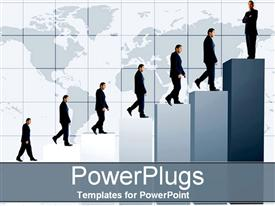 Man climbing the business graph powerpoint design layout