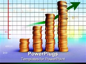 PowerPoint template displaying four ascending stacks of cold coins and a graph