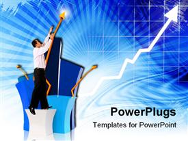 PowerPoint template displaying man standing on box reaching up next to upward pointing golden arrow