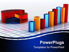 PowerPoint template displaying colorful bars and pie sitting on tiled floor