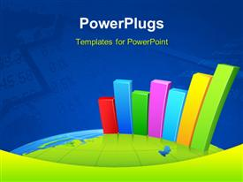 PowerPoint template displaying colored bar charts emerging on earth surface with stock analysis in background