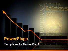 PowerPoint template displaying business growth chart made in 3D with special lighting effects in the background.
