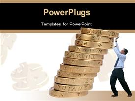 PowerPoint template displaying business man pushing some coins upwards to avoid them from falling down in the background.