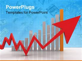 PowerPoint template displaying business red arrow on background business graphics in the background.