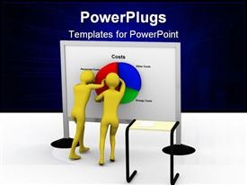 PowerPoint template displaying businessman pushing costs. High resolution