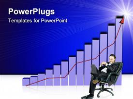 Businessman is sitting in front of increasing profits graph powerpoint design layout