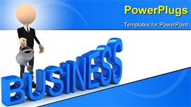 PowerPoint template displaying businessmen upgrade business over white background. computer generated depiction in the background.