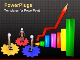 PowerPoint template displaying color schedule with a red arrow rising upwards in the background.