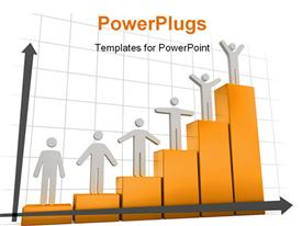 PowerPoint template displaying 3D men standing on bars of success bar chart