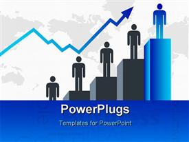PowerPoint template displaying a number of people standing on a growth chart